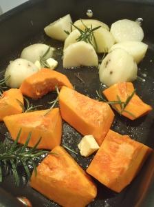 Pumpkin and potato awaiting the oven