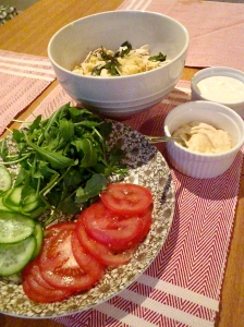 Tomato, cucumber, couscous, yoghurt, hummus and rocket